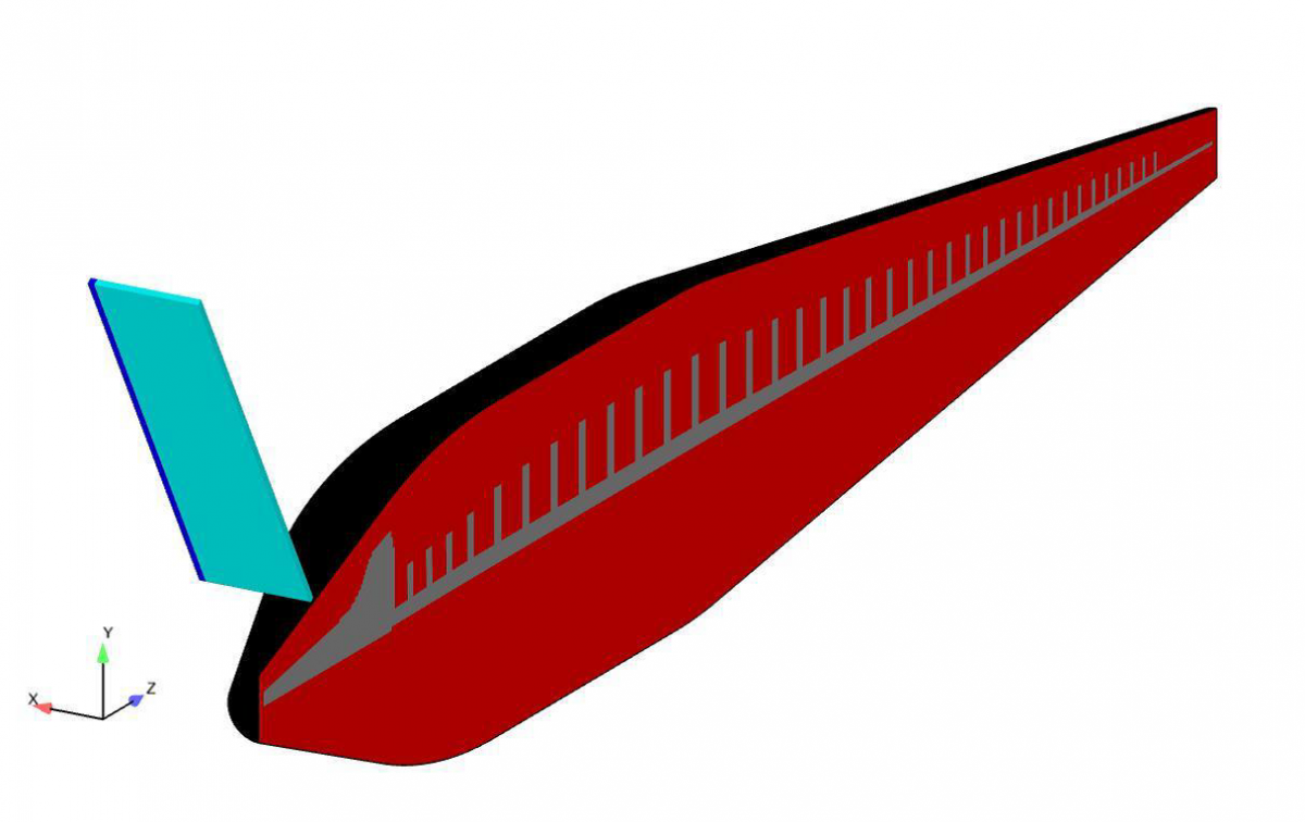 Figure 2. The finite element mesh created for the model of the SRKW and the tidal turbine blade, color coded for blade, skin, blubber and bone (with symmetry plane). The turbine is represented by a single blade. Due to the ducted turbine design, which encloses the tips of the turbine blades, and the spacing between blades, strike could only conceivably occur on the rostrum of a SRKW.