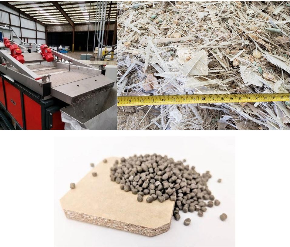 Photo of: Examples of products made from recycled fiberglass (left to right): crushed fiberglass composite material, pellet production process, fiber-reinforced plastic pellets and composite panel.
