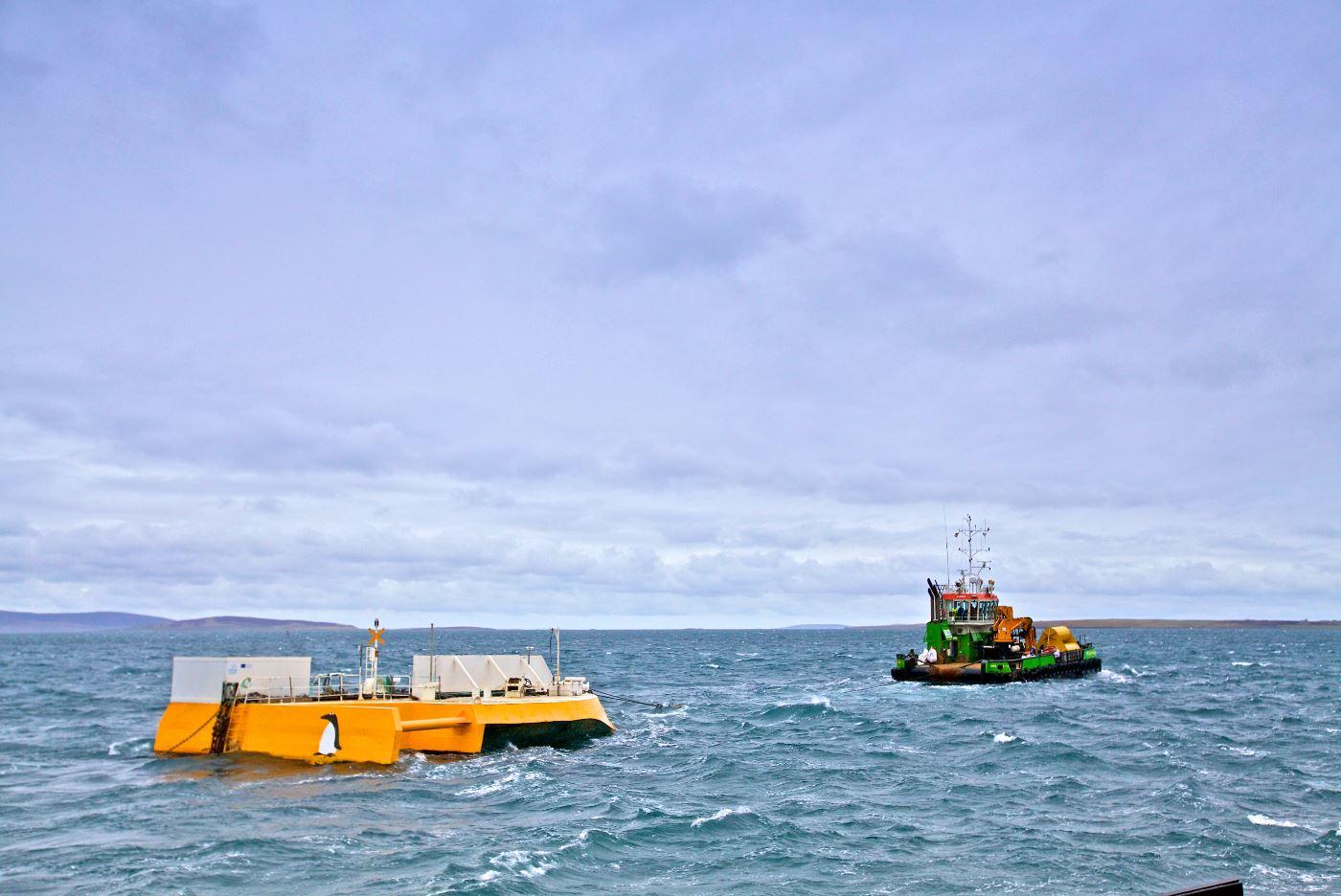 Green Marine installed the Wello Penguin at the EMEC wave test site, Billia Croo (Credit Colin Keldie)