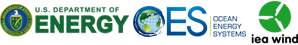 U.S. Department of Energy, Ocean Energy Systems, and IEA Wind logos